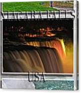 Niagara Falls Usa Triptych Series With Text Canvas Print