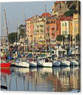 Nice Harbor Red Boat Canvas Print