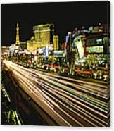 Night Exposure Of The Strip On Las Canvas Print