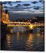 Night Fall Over The Seine Canvas Print