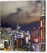 Night View Of Hong Kong Island Canvas Print