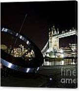 Night View Of The Thames Riverbank Canvas Print
