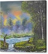 Night Waterfall Canvas Print
