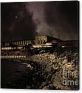 Nightfall Over Hard Time - San Quentin California State Prison - 5d18454 - Partial Sepia Canvas Print