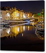 Nighttime Along The River Leie Canvas Print