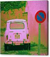 No Parking Sign With Pink Car Canvas Print