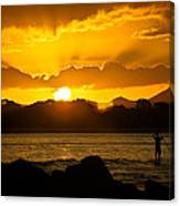 Noosa Sunset Paddle Board 1 Canvas Print