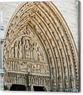 Notre Dame Cathedral Right Entry Door Canvas Print