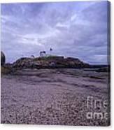 Nubble Lighthouse At Dusk Maine Usa Canvas Print