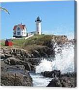 Nubble Lighthouse With Seagull And Ocean Spray Canvas Print