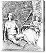 Nude Man With Skeleton Canvas Print