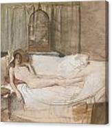 Nude On A Sofa Canvas Print
