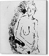 Nude Young Female That Is Mysterious In A Whispy Atmospheric Hand Wringing Pose Highly Contemplative Canvas Print