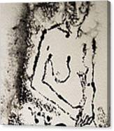 Nude Young Female That Is Mysterious In A Whispy Atmospheric Hand Wringing Pose Monoprint Intaglio Canvas Print