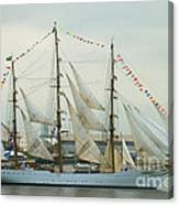 Nve Cisne Branco Passing By Fort Mchenry Canvas Print