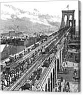 Ny: Brooklyn Bridge, 1883 Canvas Print