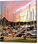 Oak Pt Harbor At Sunset Canvas Print