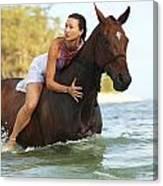 Ocean Horseback Rider Canvas Print