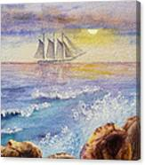 Ocean Waves And Sailing Ship Canvas Print