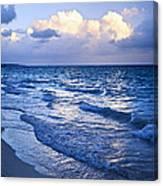 Ocean Waves On Beach At Dusk Canvas Print