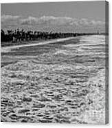 Oceanside In Black And White Canvas Print
