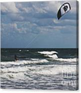 October Beach Kite Surfer Canvas Print