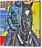 Officer And Black Horse Canvas Print