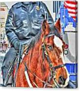 Officer On Brown Horse Canvas Print