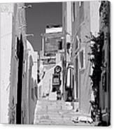 Oia Staircase Bw Canvas Print