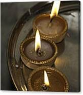 Oil Lamps Kept In A Plate As Part Of Diwali Celebrations Canvas Print