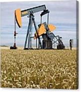 Oil Pump In A Wheat Field Canvas Print