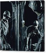 Oilmen Covered In Mud Pull Up A Drill Canvas Print