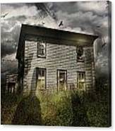 Old Ababdoned House With Flying Ghosts Canvas Print
