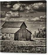 Old Barn After The Storm Black And White Canvas Print