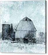 Old Barn In Winter Snow Canvas Print