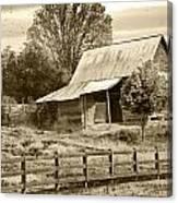 Old Barn Sepia Tint Canvas Print