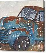 Old Blue Chevy Winter Storm Canvas Print