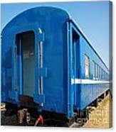 Old Blue Train Car Canvas Print