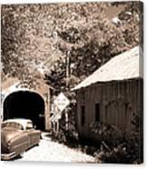 Old Car Older Barn Oldest Bridge Canvas Print