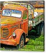 Old Dumptruck On Brick Background-ca Canvas Print
