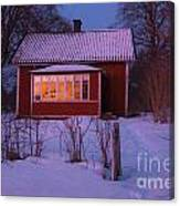 Old-fashioned House At Sunset In Winter Canvas Print
