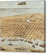 Old Galveston Map Canvas Print