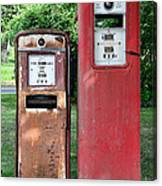 Old Gas Station Pumps Canvas Print