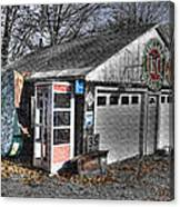 Old Gas Station Signs And A Soon To Be Outdated Phone Booth Canvas Print