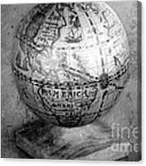 Old Globe In Black And White Canvas Print