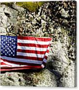 Old Glory On A Rock Canvas Print