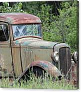 Abandoned Truck In Field Canvas Print