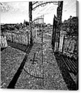 Old Grave Yard B-w Drawing Canvas Print