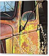 Old Green Truck Door Canvas Print