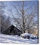 Old Hay Barn In Deep Snow Canvas Print